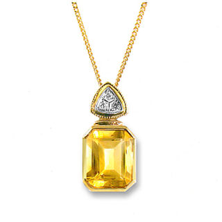 Natural Citrine & Diamonds 9ct.