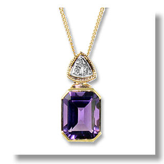 Natural  Amethyst & Diamonds 9ct.