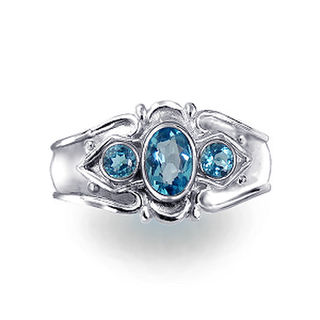 Etruscan Style Blue Topaz Ring