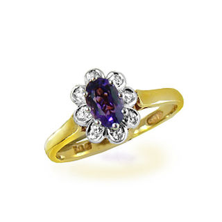 Natural Amethyst & Dia. Cluster 9ct.