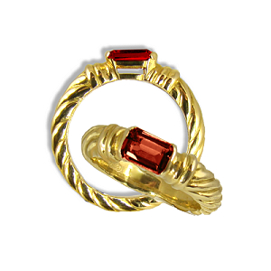 9ct. Etruscan Natural Garnet ring