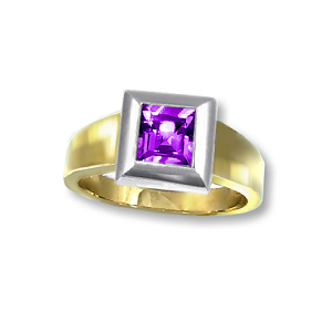 9ct. Yellow & WG Amethyst
