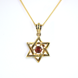 Natural Red Garnet Star of David 9ct.