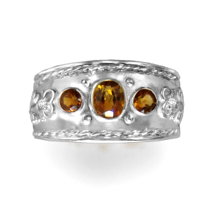 Natural Citrine & CZ  Ring