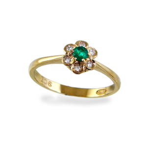 Natural Emerald & Dia, 9ct.